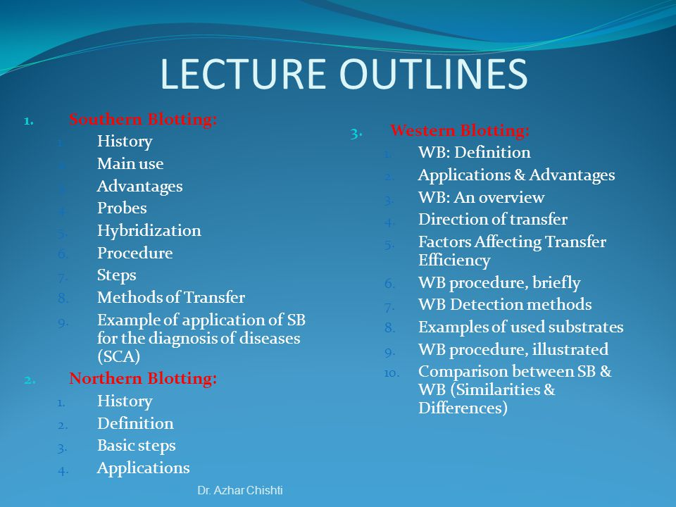 LECTURE OUTLINES Southern Blotting: History Main use Advantages Probes