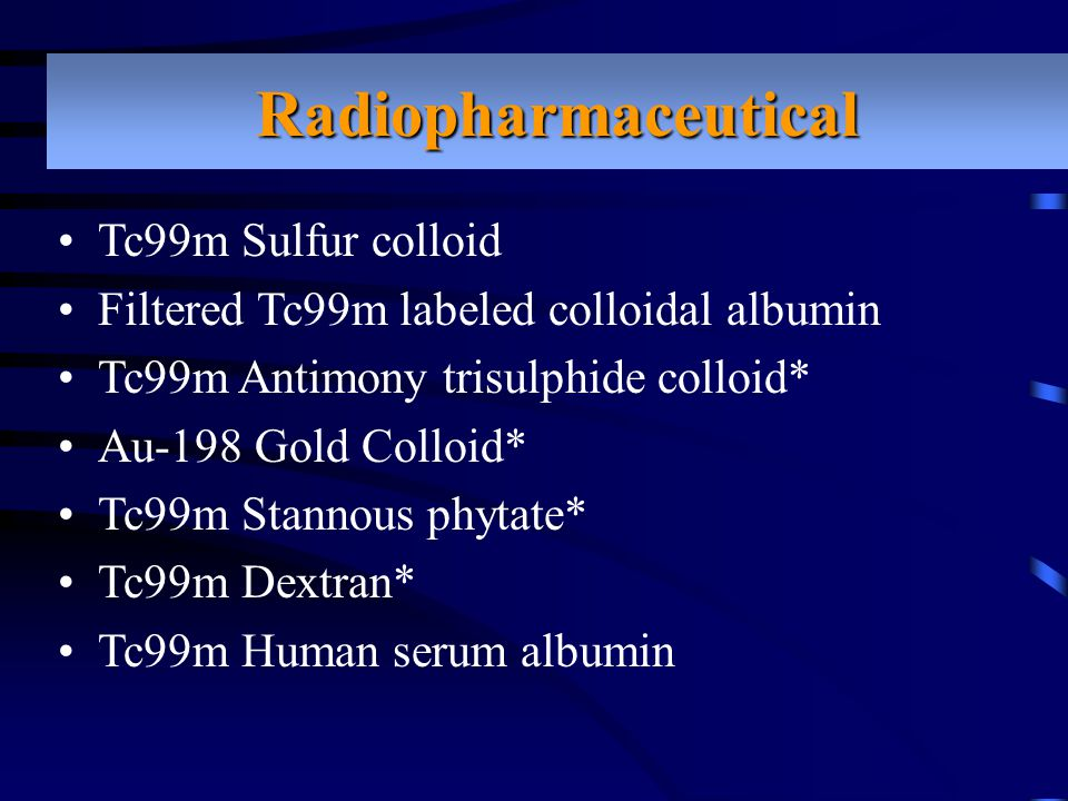 Radiopharmaceutical Tc99m Sulfur colloid