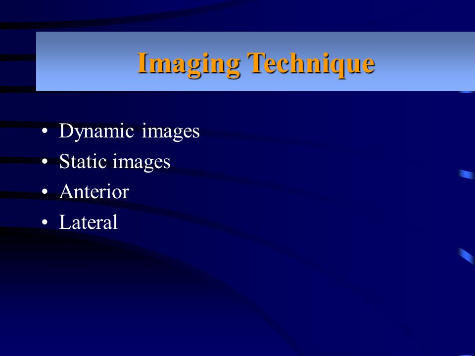Imaging Technique Dynamic images Static images Anterior Lateral