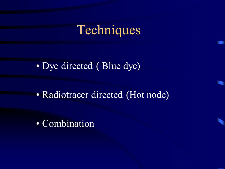 Dye directed ( Blue dye) Radiotracer directed (Hot node) Combination