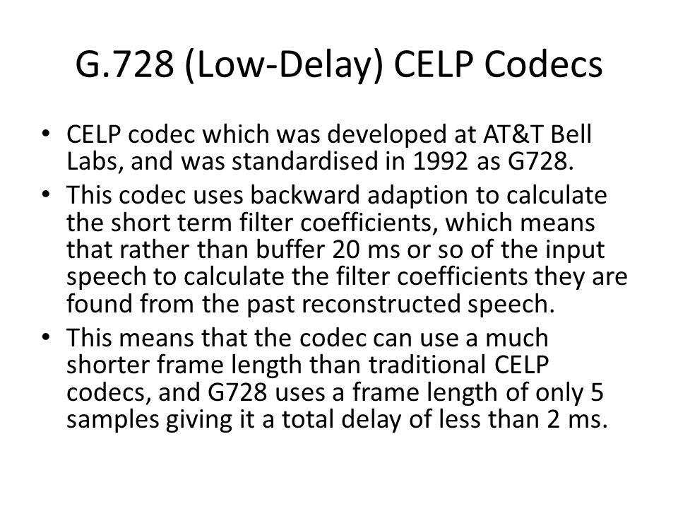 G.728 (Low-Delay) CELP Codecs