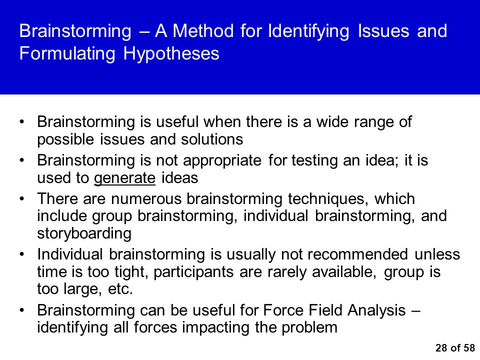 Brainstorming – A Method for Identifying Issues and Formulating Hypotheses