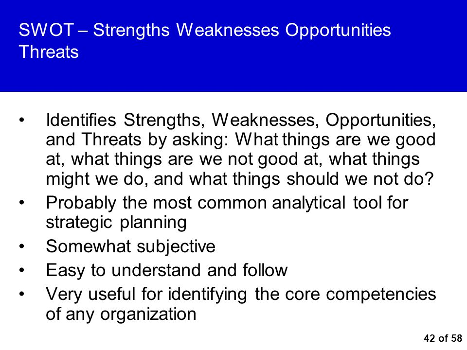 SWOT – Strengths Weaknesses Opportunities Threats