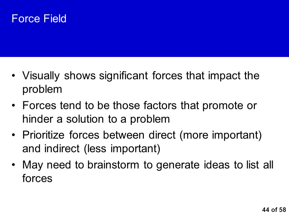 Force Field Visually shows significant forces that impact the problem.