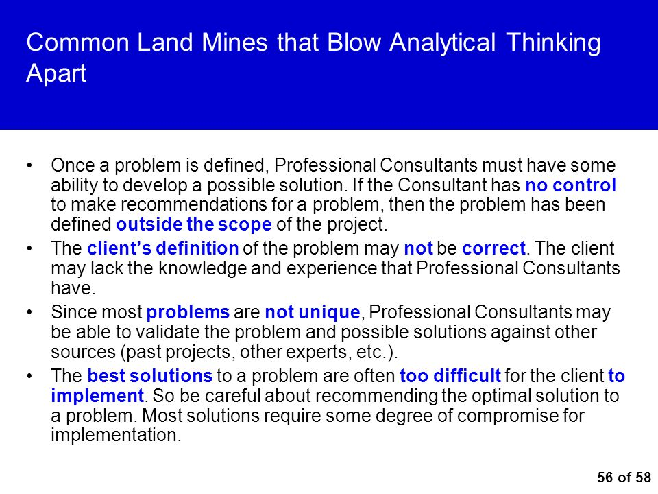 Common Land Mines that Blow Analytical Thinking Apart