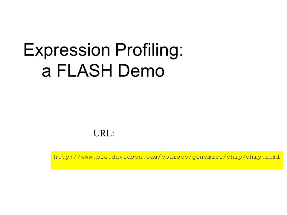 Expression Profiling: a FLASH Demo