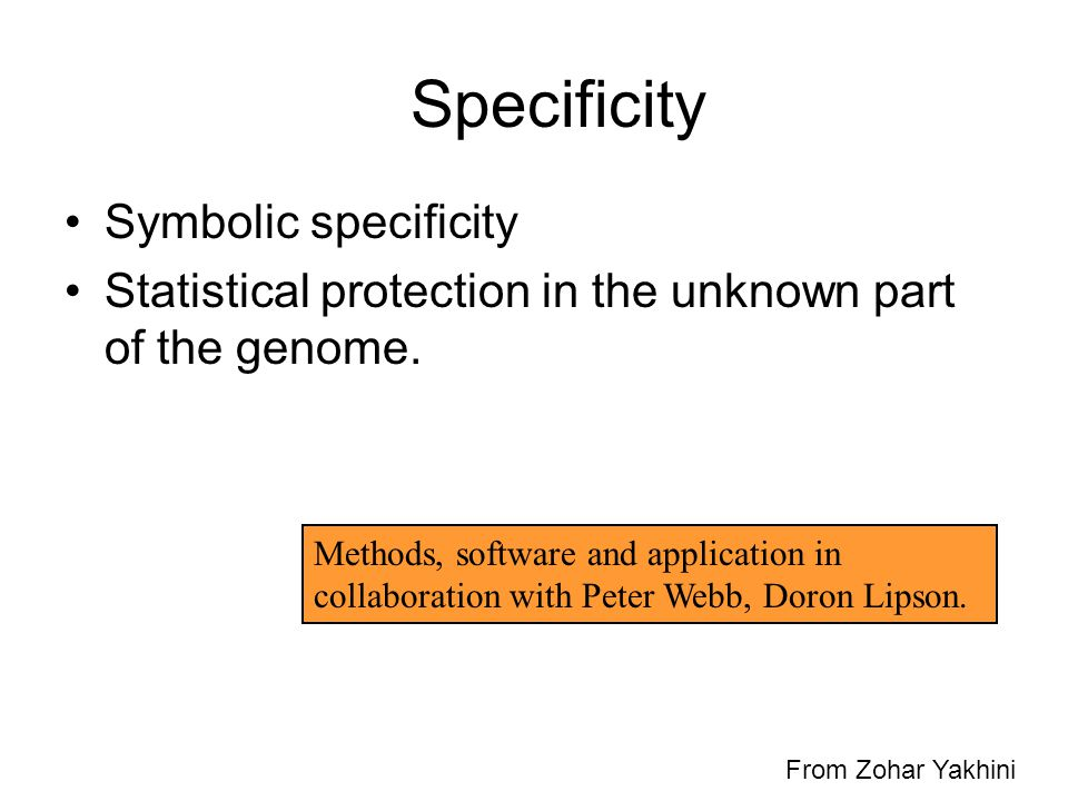 Specificity Symbolic specificity