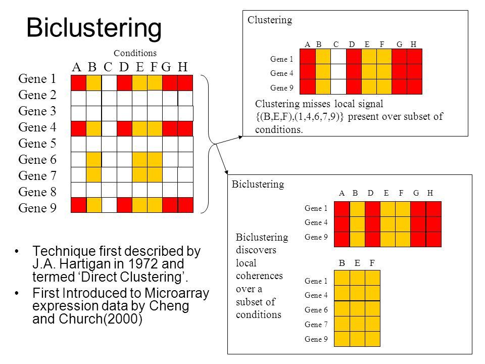 Biclustering A B C D E F G H Gene 1 Gene 2 Gene 3 Gene 4 Gene 5 Gene 6