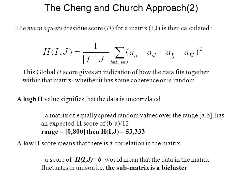 The Cheng and Church Approach(2)