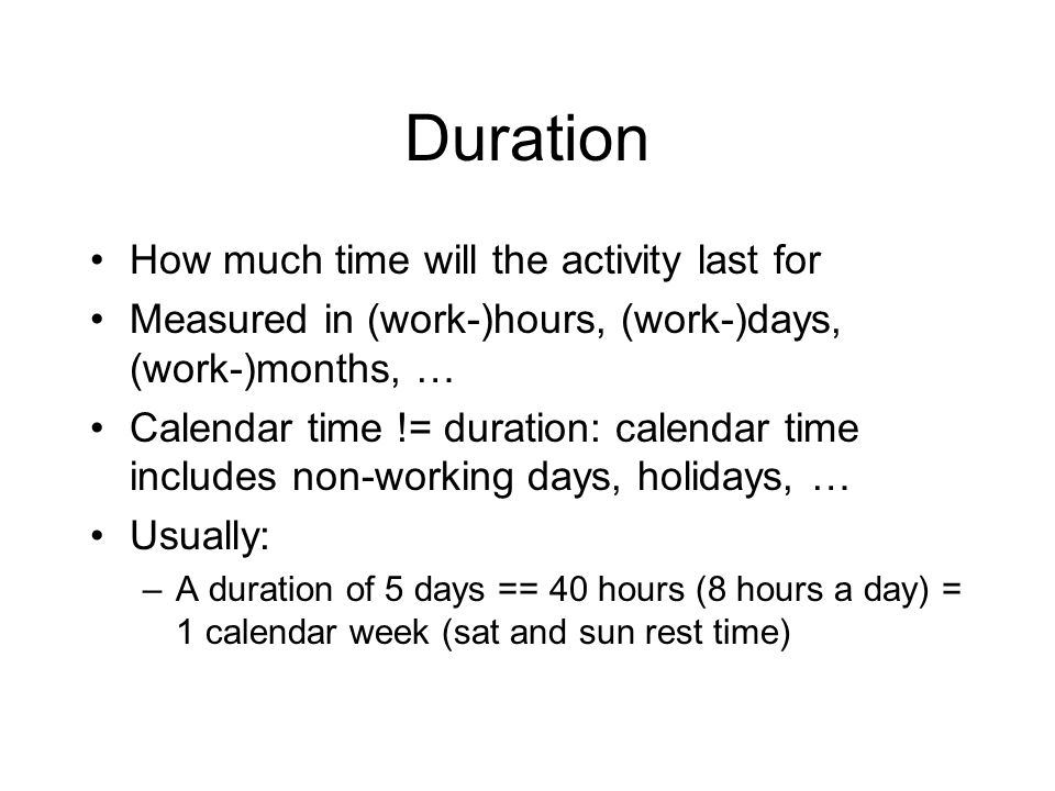 Duration How much time will the activity last for