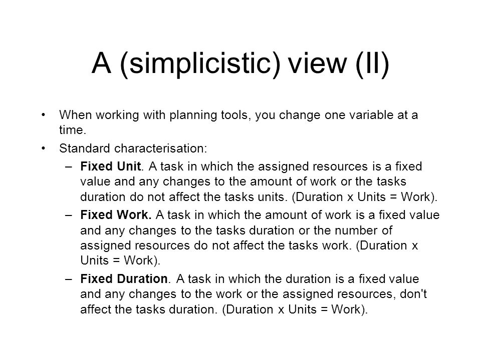 A (simplicistic) view (II)