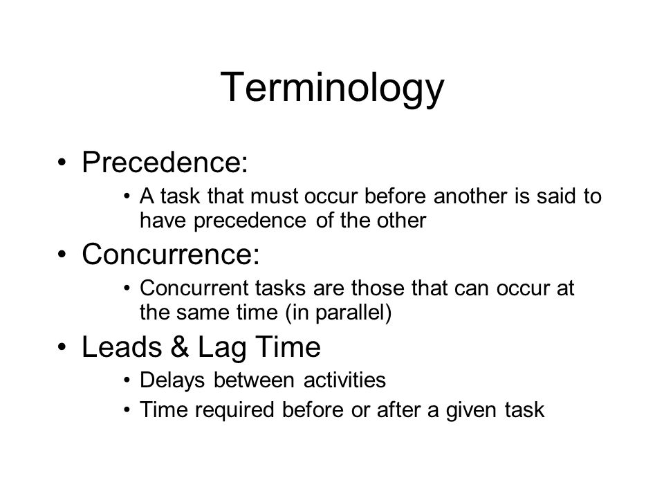 Terminology Precedence: Concurrence: Leads & Lag Time