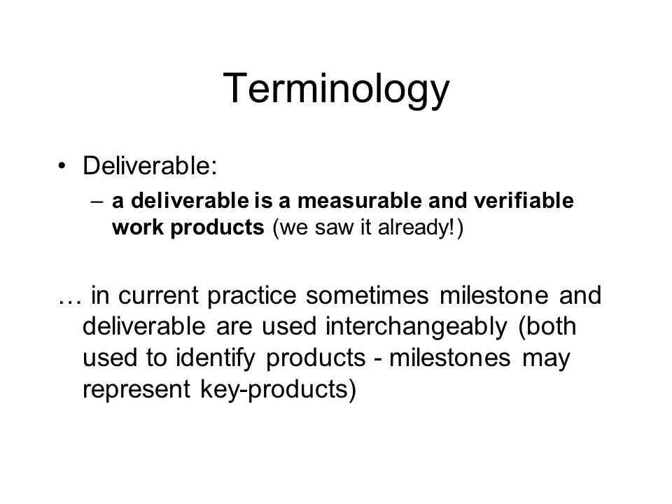 Terminology Deliverable: