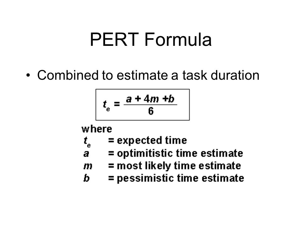 PERT Formula Combined to estimate a task duration