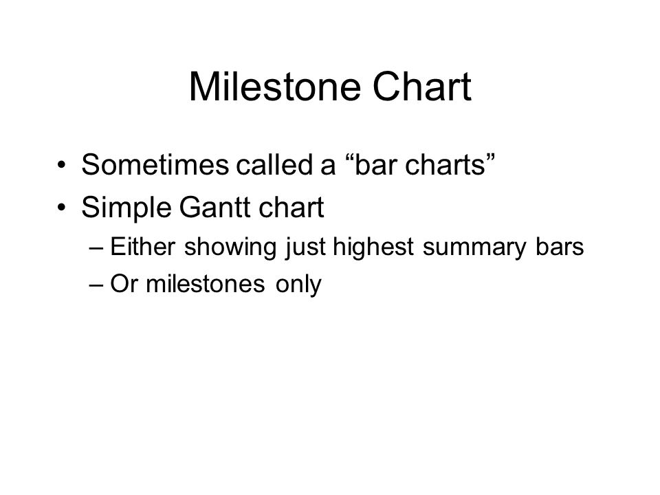 Milestone Chart Sometimes called a bar charts Simple Gantt chart