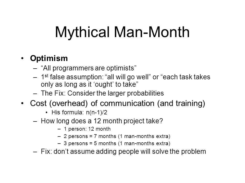 Mythical Man-Month Optimism