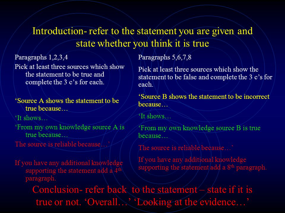 Introduction- refer to the statement you are given and state whether you think it is true
