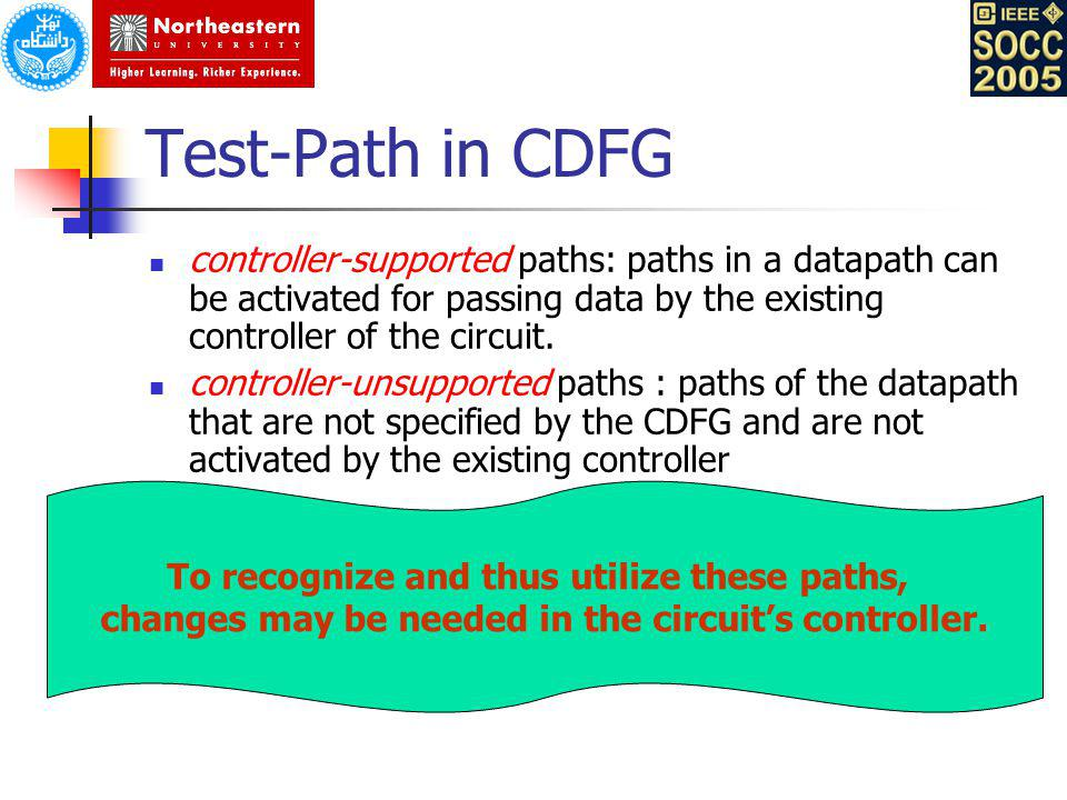 Test-Path in CDFG controller-supported paths: paths in a datapath can be activated for passing data by the existing controller of the circuit.