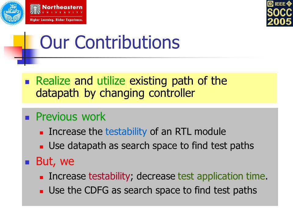 Our Contributions Realize and utilize existing path of the datapath by changing controller. Previous work.