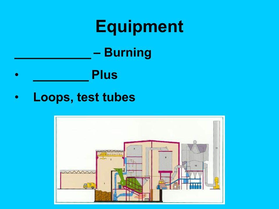 Equipment ___________ – Burning ________ Plus Loops, test tubes