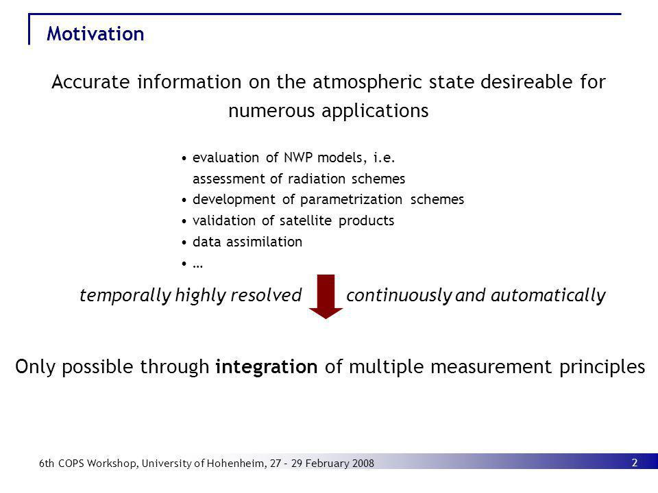 Only possible through integration of multiple measurement principles