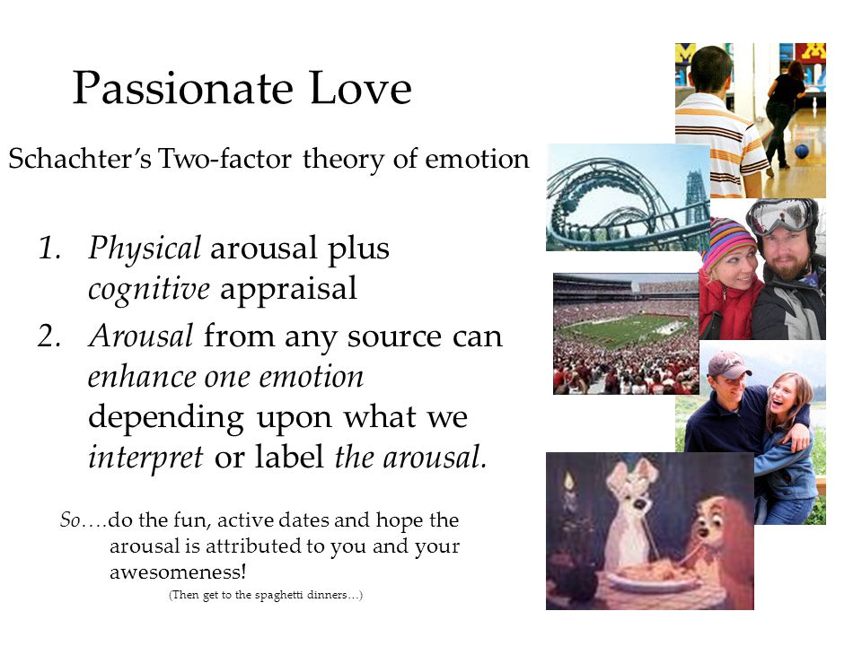Passionate Love Physical arousal plus cognitive appraisal
