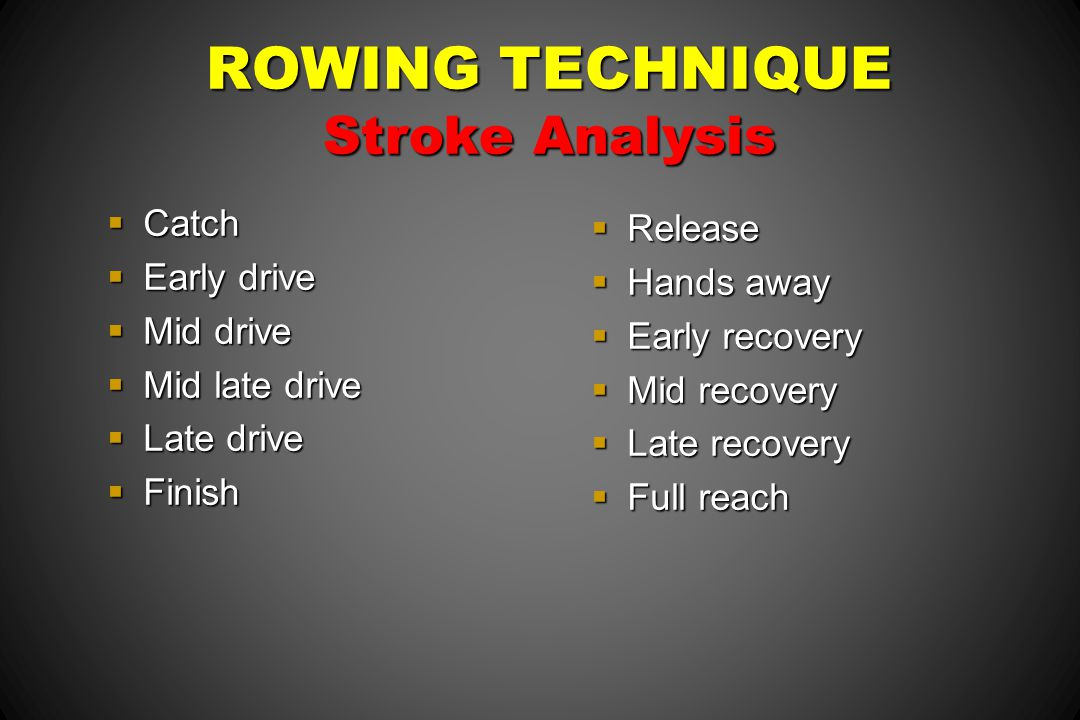 ROWING TECHNIQUE Stroke Analysis