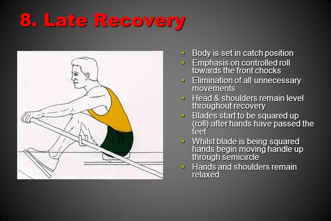 8. Late Recovery Body is set in catch position