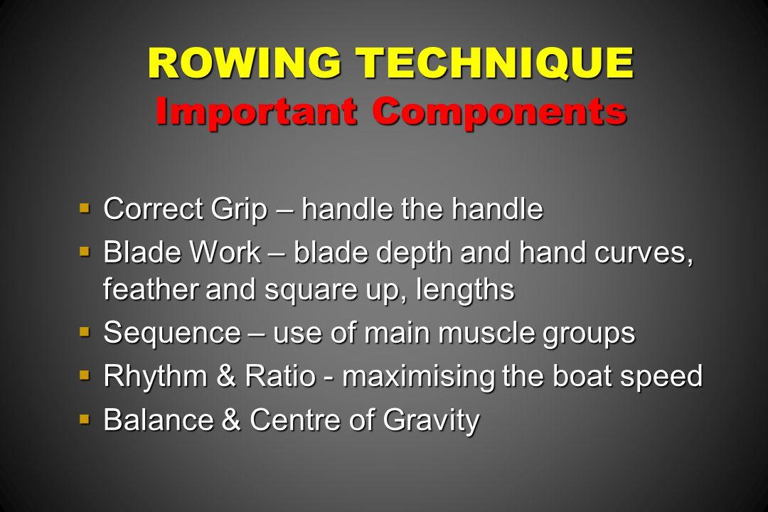 ROWING TECHNIQUE Important Components