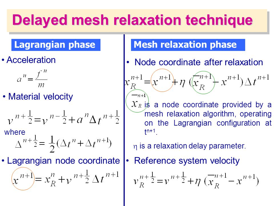Delayed mesh relaxation technique
