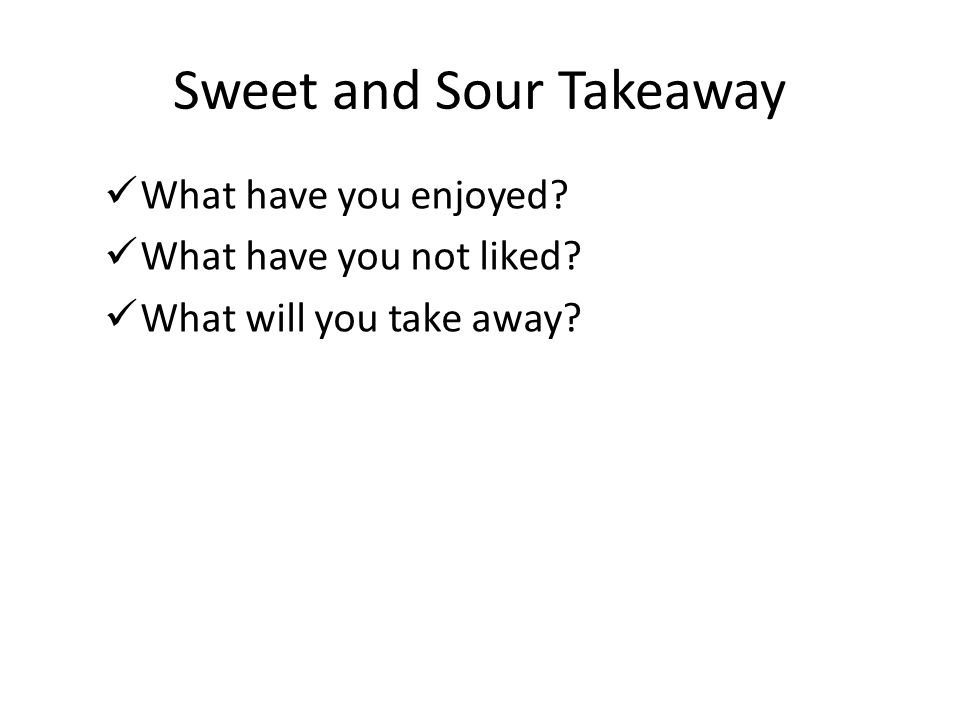Sweet and Sour Takeaway