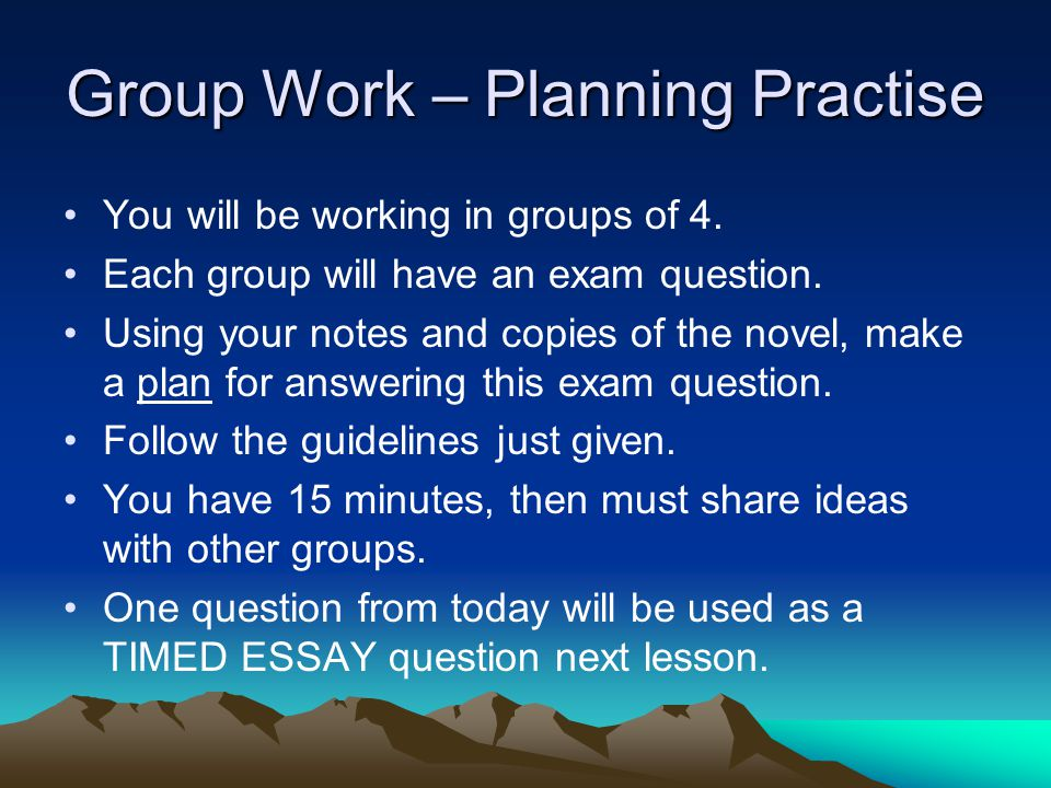 Group Work – Planning Practise