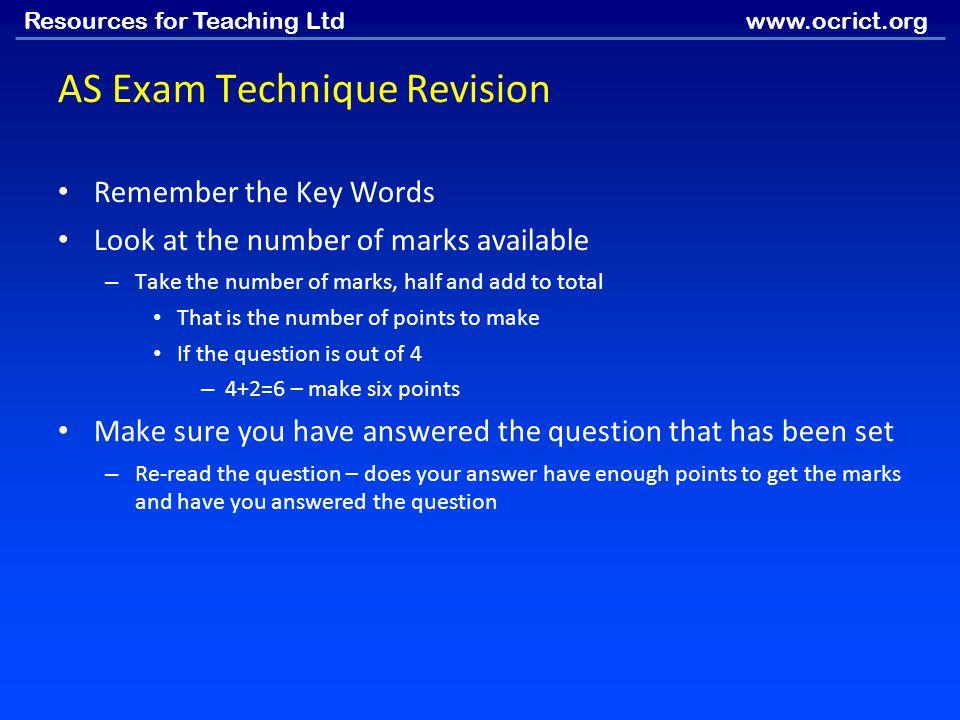 AS Exam Technique Revision