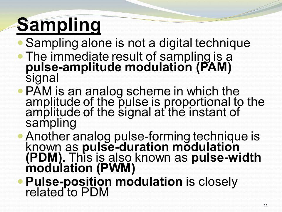 Sampling Sampling alone is not a digital technique