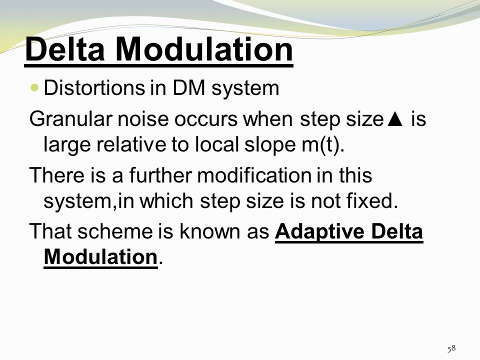 Delta Modulation Distortions in DM system