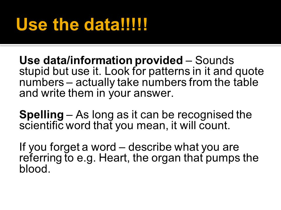 Use the data!!!!!