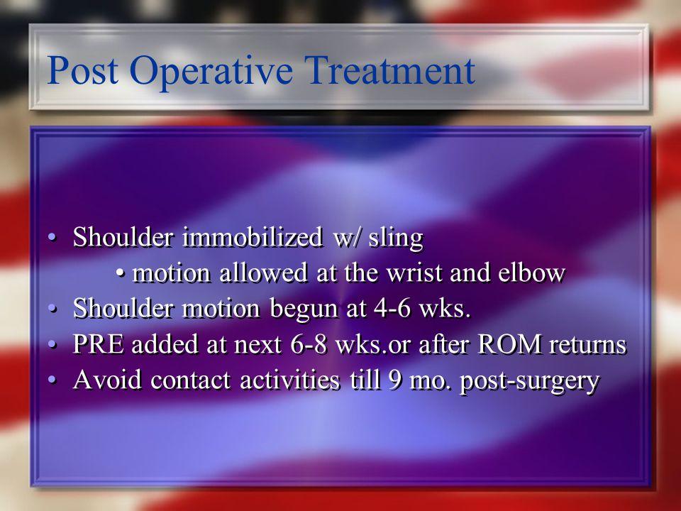 Post Operative Treatment
