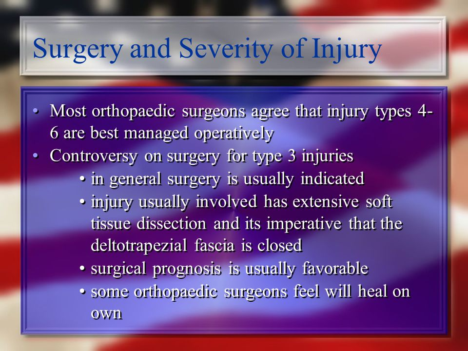 Surgery and Severity of Injury