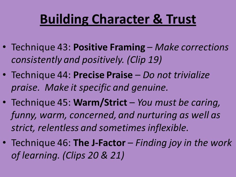 Building Character & Trust