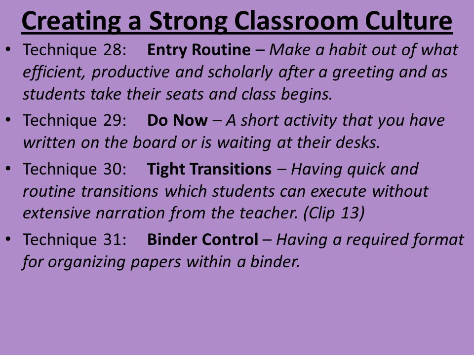Creating a Strong Classroom Culture