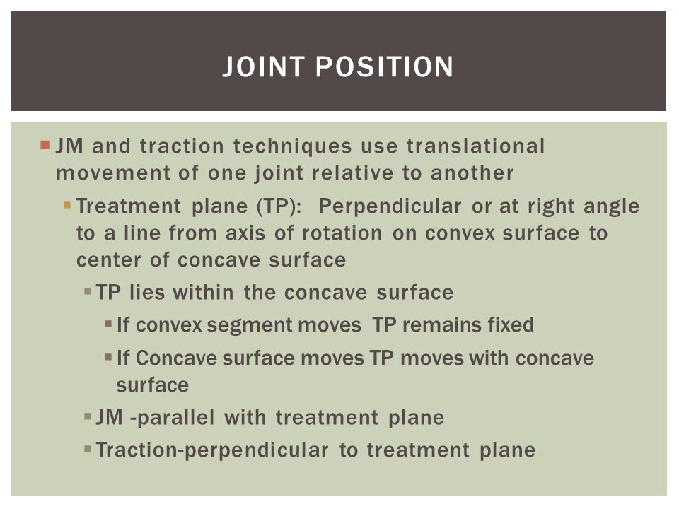 Joint Position JM and traction techniques use translational movement of one joint relative to another.