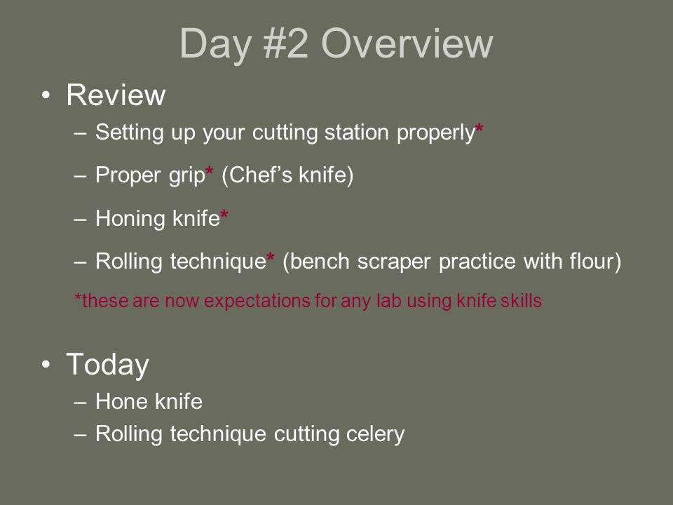 Day #2 Overview Review Today Setting up your cutting station properly*