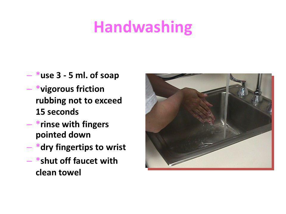 Handwashing *use 3 - 5 ml. of soap