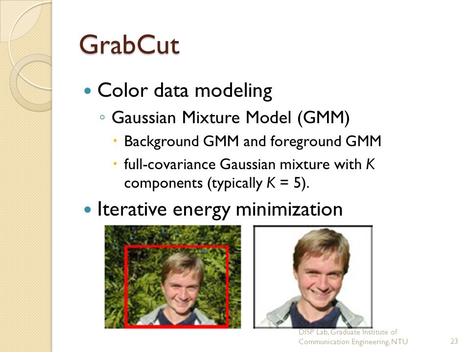 GrabCut Color data modeling Iterative energy minimization