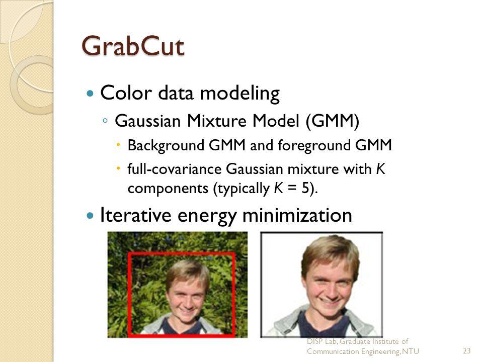 GrabCut Color data modeling Iterative energy minimization