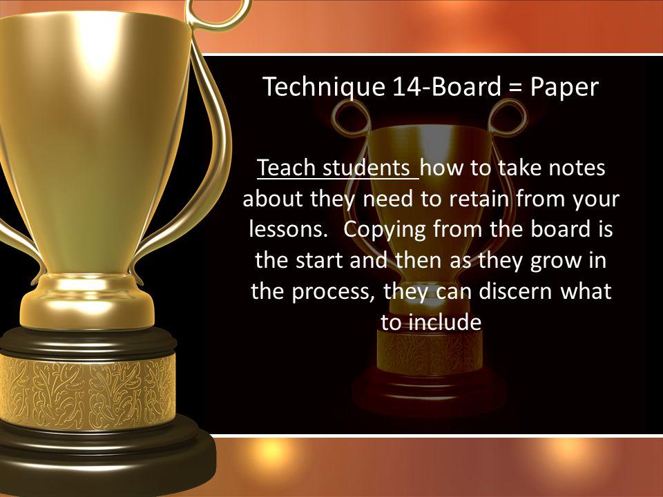 Technique 14-Board = Paper