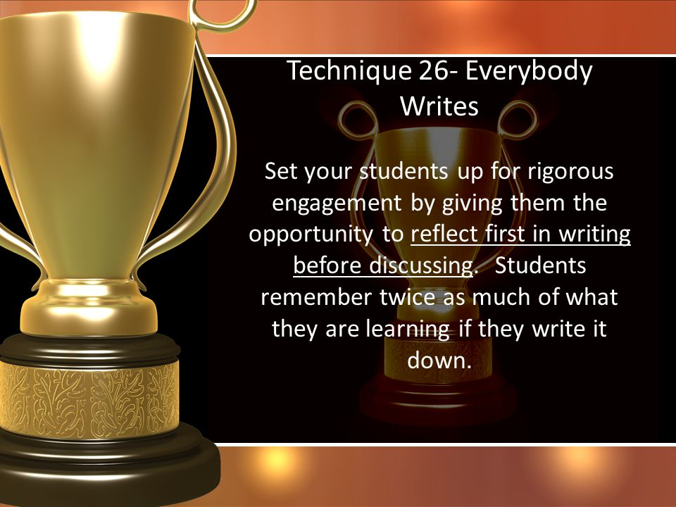 Technique 26- Everybody Writes