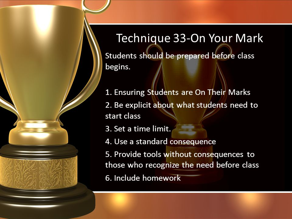 Technique 33-On Your Mark
