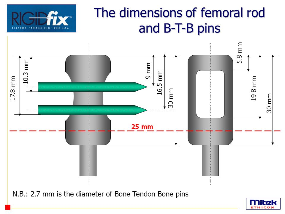 The dimensions of femoral rod