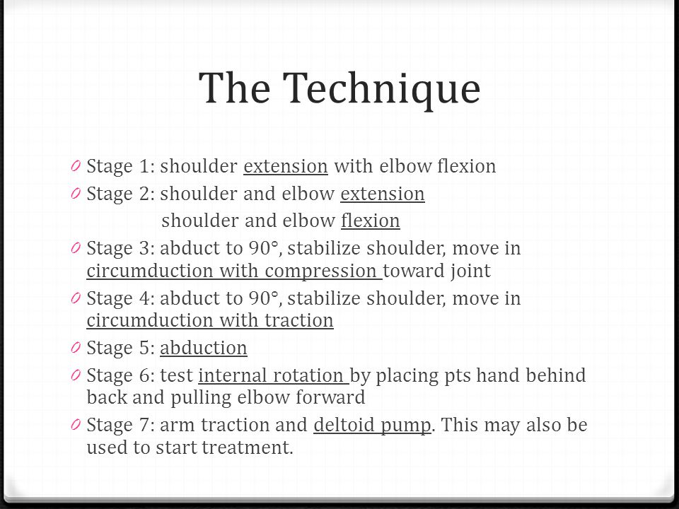 The Technique Stage 1: shoulder extension with elbow flexion
